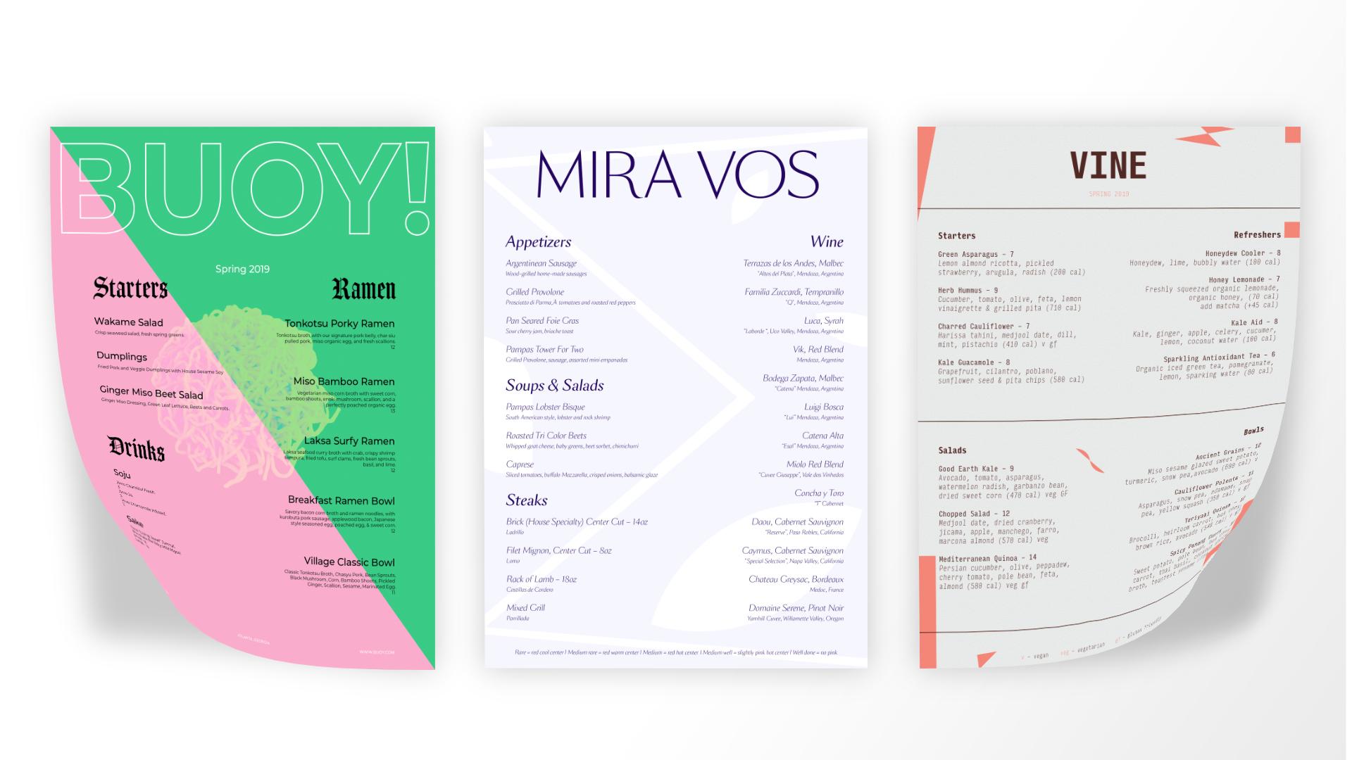3 menus