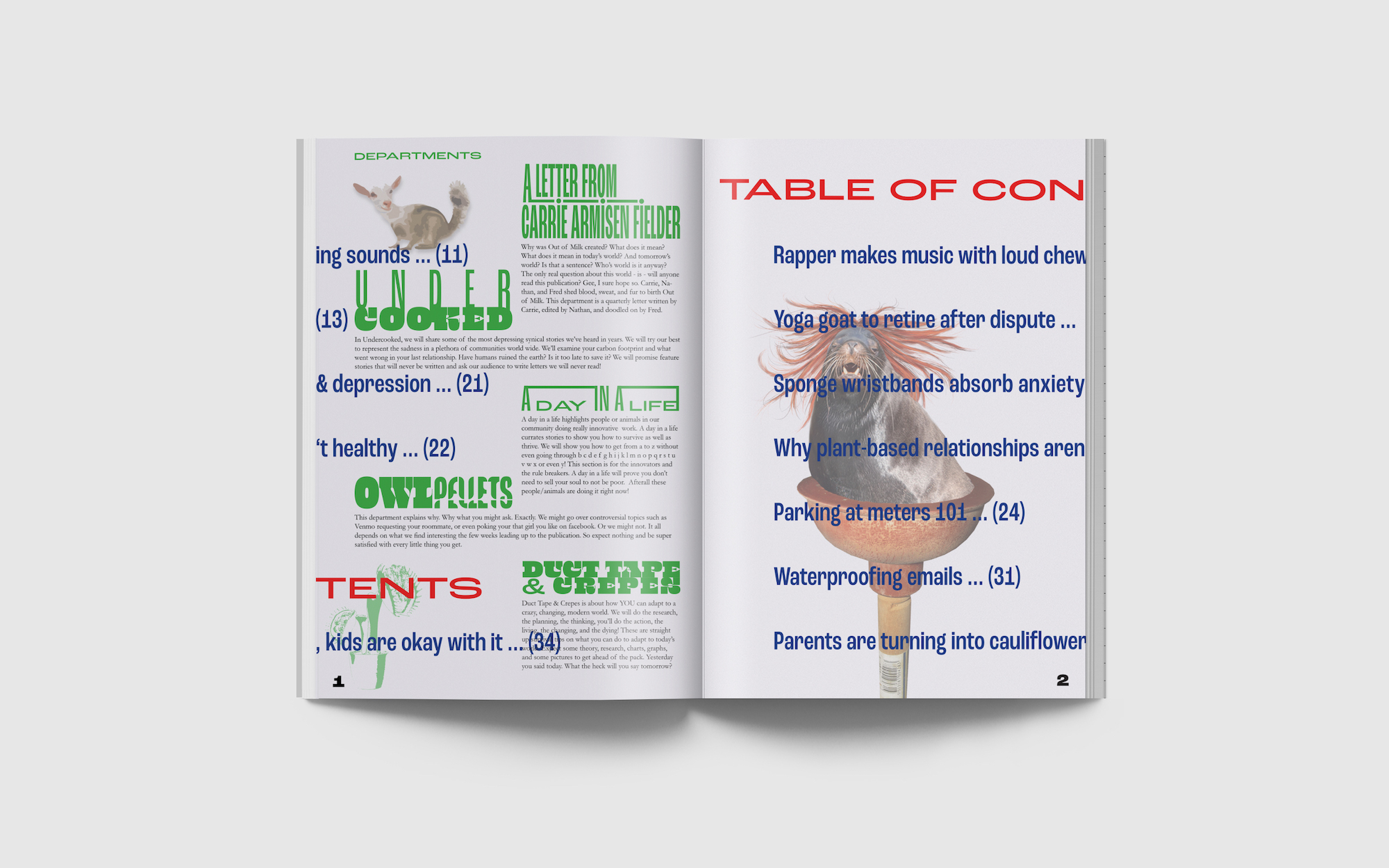 table of contents spread