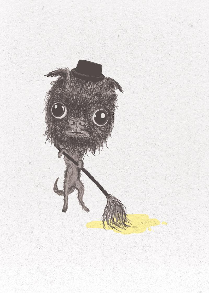 dog illustration card 1